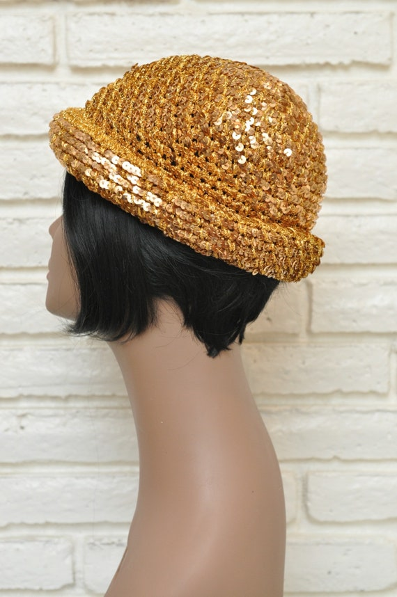 1970's Gold Sequins Womens Hat Stretchy Beanie Sk… - image 5