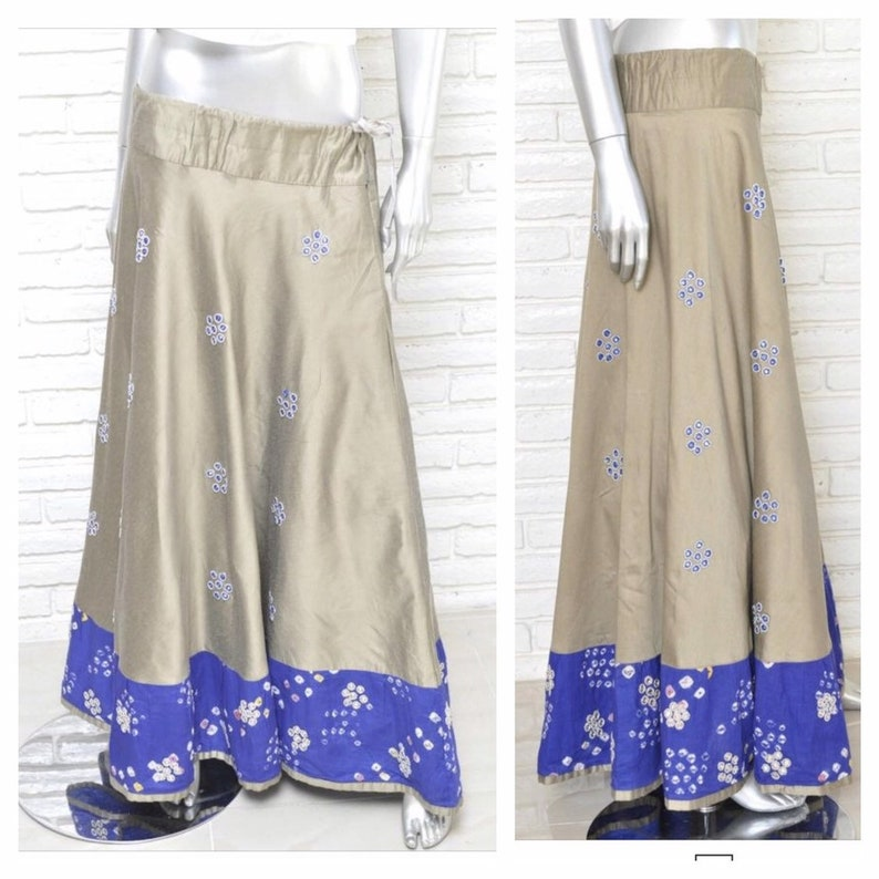 Studio West Sz Xl Gray Silver Embroidered Bohemian Gypsy Skirt Drawstring Boho Clothing, Shoes & Accessories