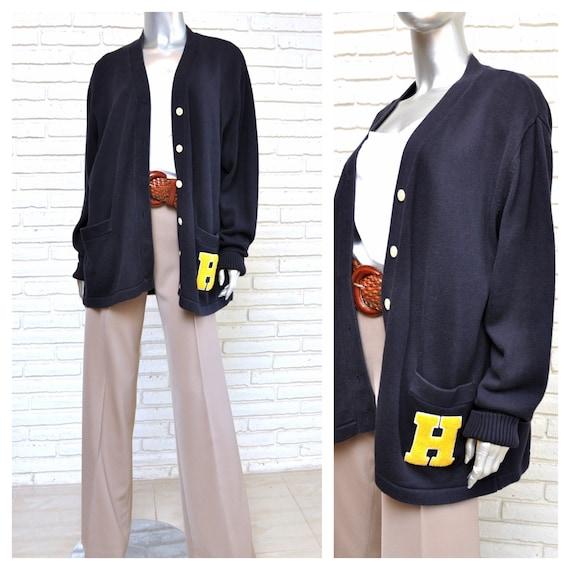 90's Tommy Hilfiger Navy Blue Letterman Sweater Ov