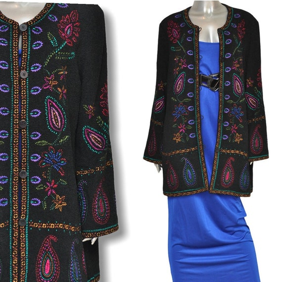 Vintage Black Jacket with Paisley Embroidered Desi