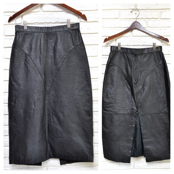 Vintage Black Leather Pencil Skirt Sexy Mid Calf S