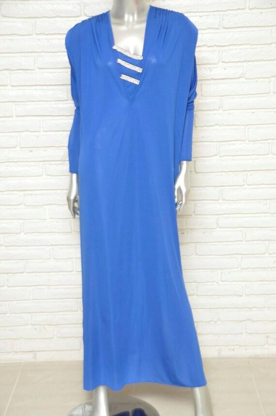 fda15c4bc440 Vintage Oscar De La Renta Royal Blue 1970's Dress with   Etsy