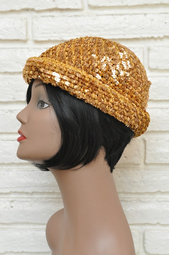 1970's Gold Sequins Womens Hat Stretchy Beanie Sk… - image 3
