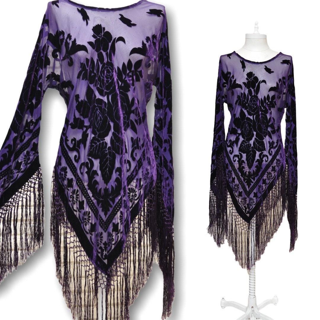 Vintage Scarf Styles -1920s to 1960s Vintage Purple Velvet Burn Out Blouse Sheer Floral Print Shirt With Fringe $0.00 AT vintagedancer.com