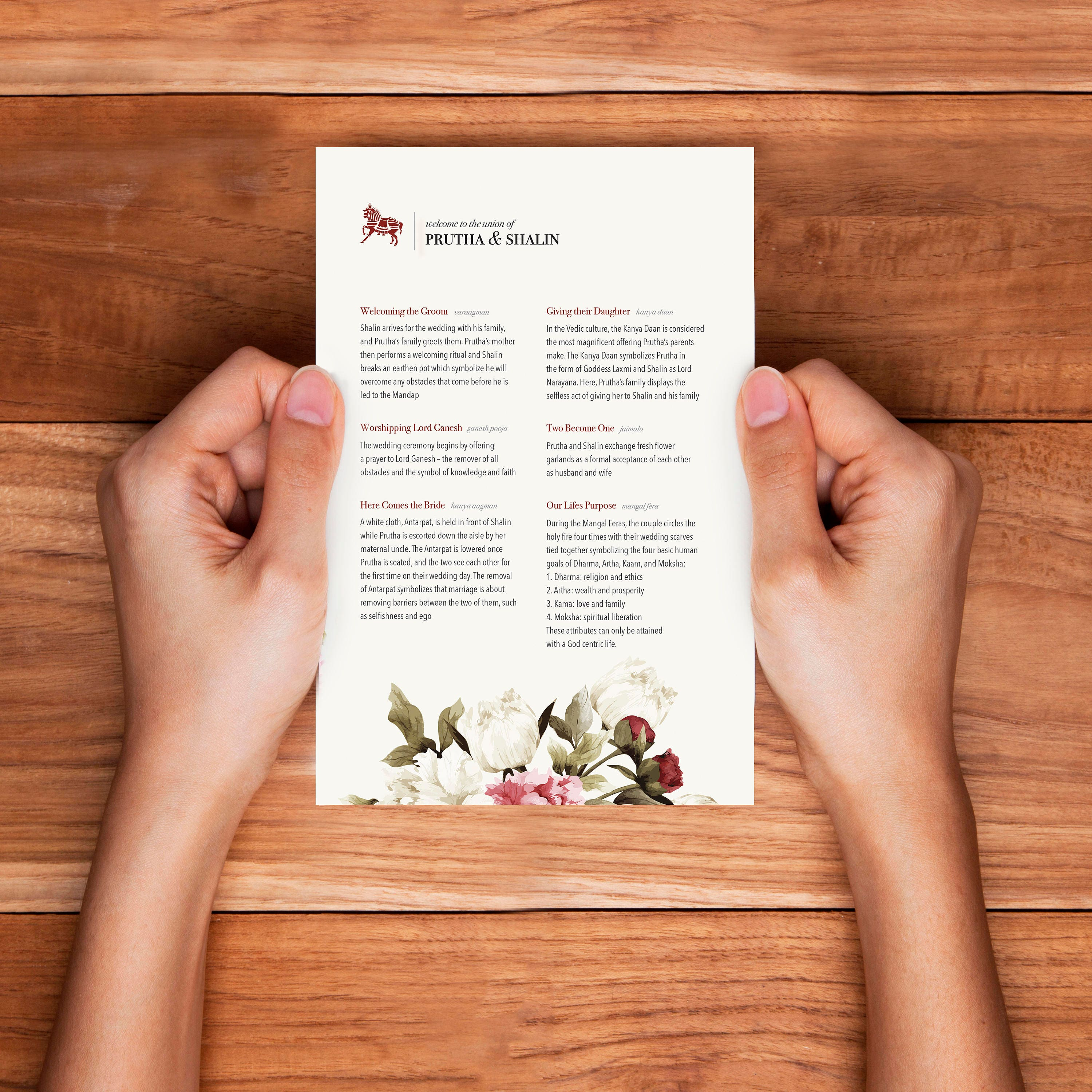 Custom Wedding Program - Designed to Match your Theme - Hindu - Welcome  Note - Itinerary - Sign - Printed Card