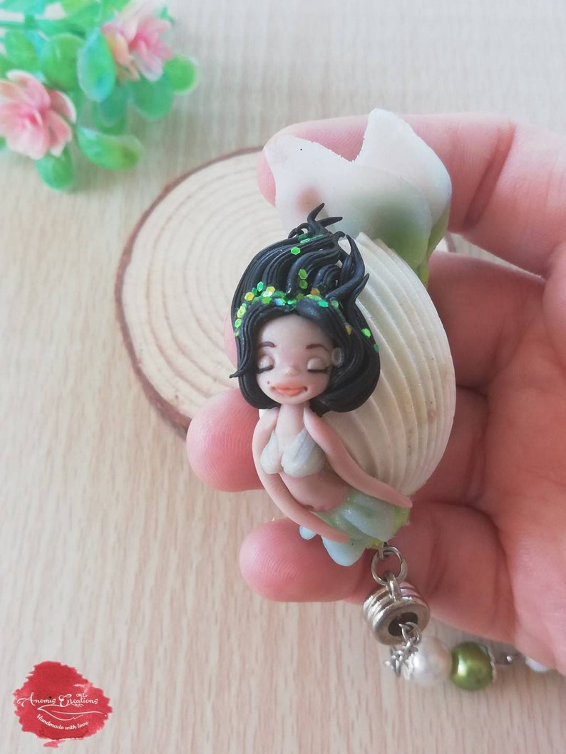 Mermaid art Clay mermaid necklace Necklace for woman Gift ideas Mermaid necklace beads Mermaid necklace for girls Polymer clay mermaid