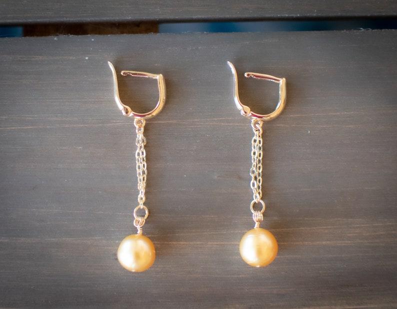 South Sea Pearl Earrings Gold South Sea Pearls on Gold Hoops Gold Filled Huggie Hoops Pearl Earrings