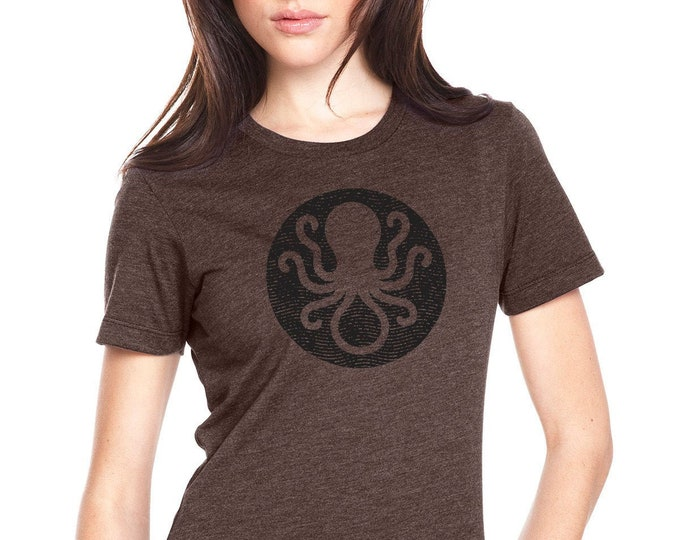 Ladies Invisible Ink Octopus Logo Tee - Brown