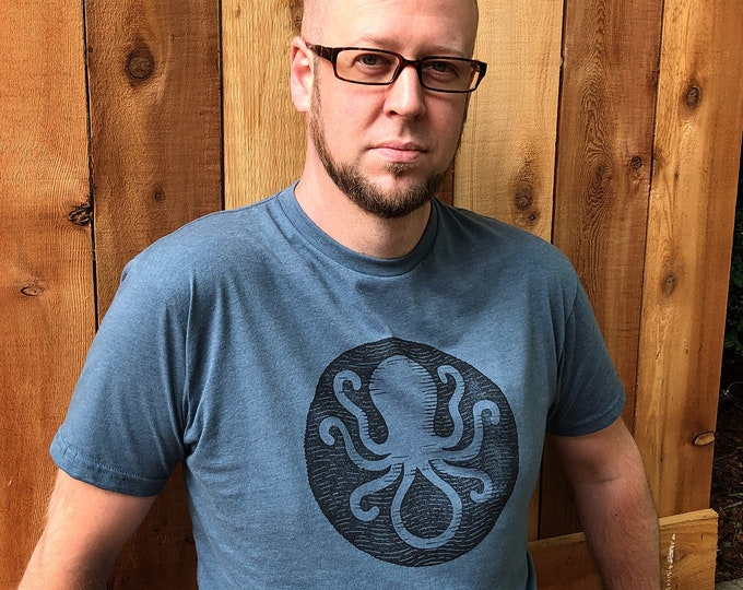 Invisible Ink Octopus Logo Tee - Blue