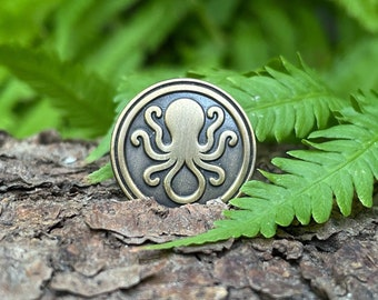 Invisible Ink Octopus Antique Gold Lapel Pin