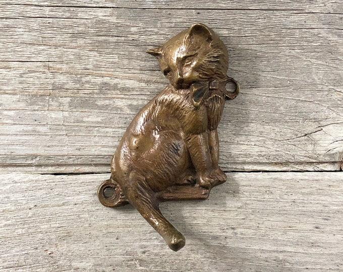 Brass Cat Wall Hook Vintage Cat Tail Key Hook