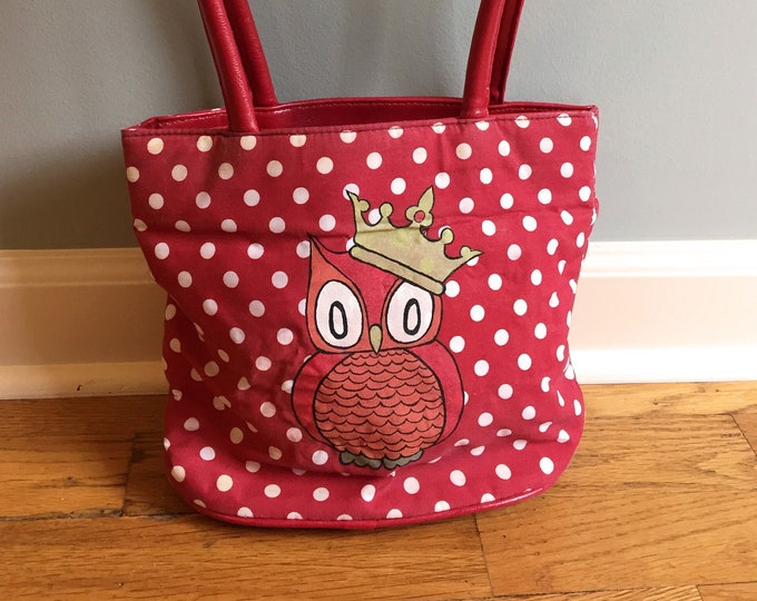 Owl King Hand-Painted Red Polka Dot Purse with Shoulder Straps Custom Painted Purse
