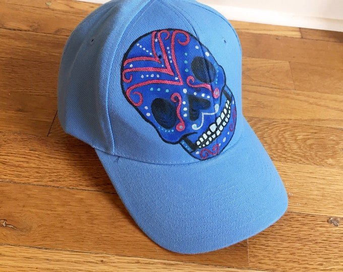 Blue Sugar Skull Hand-Painted Day of the Dead Baseball Cap with Adjustable One-Size-Fits-All Hat