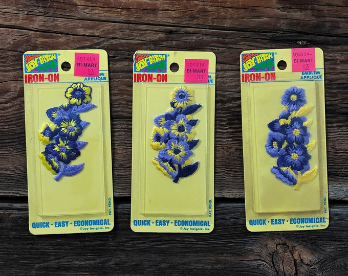 Set of 6 Vintage Flower Patches Iron-On Joy Patch New Old Stock Patches