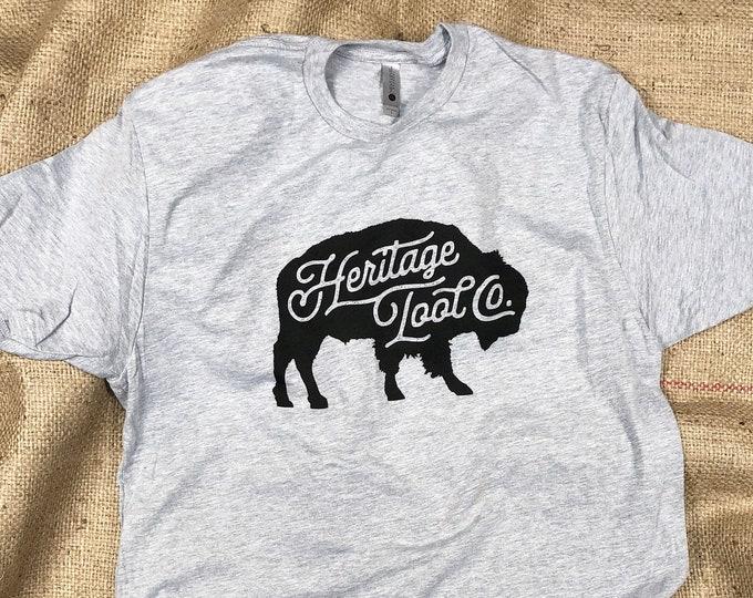 SAVE 25% Heritage Tool Co. Buffalo Tee • 90/10 Cotton Heather Gray Buffalo Logo T-Shirt