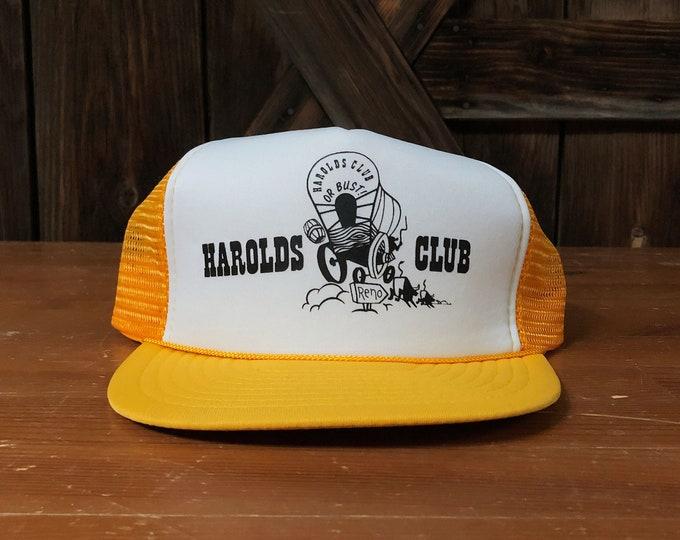 Vintage Harolds Club or Bust Reno Casino Gambling Wagon Snapback Trucker Hat
