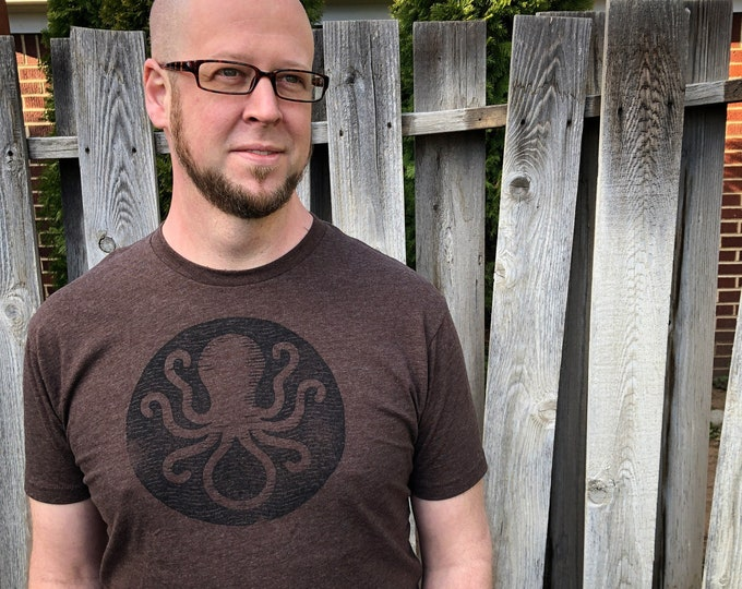 Invisible Ink Octopus Logo Tee - Brown