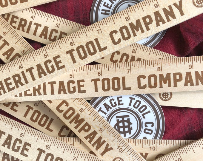 Heritage Tool Co. Branded Wood Rulers • 20 Pack