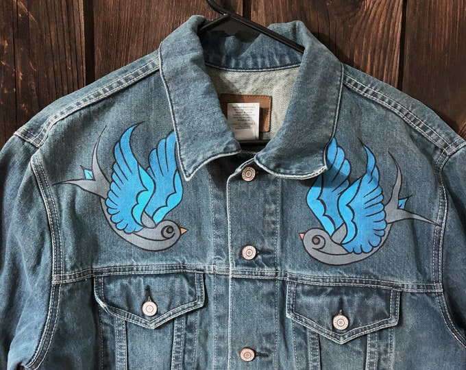 Jean Jacket With Custom Hand-Painted Sparrows