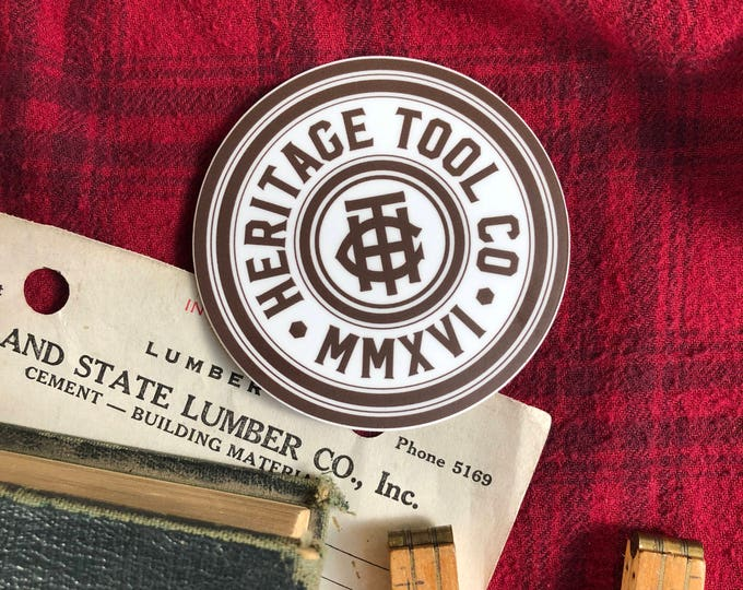 "Heritage Tool Co. Logo Badge Sticker 3.25"" Tool Sticker"