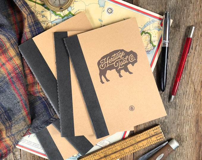 Heritage Tool Co. Notebook • 30 Page Shop Notes with Buffalo Logo Stitched Binding