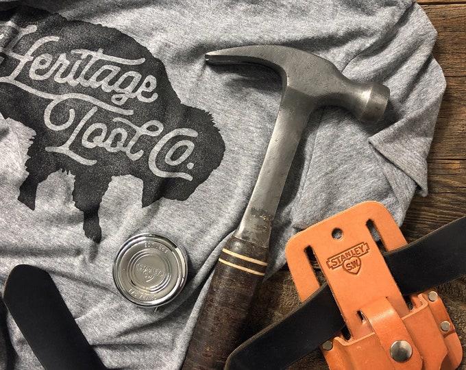 Heritage Tool Co. Ladies Block Print Buffalo Tee - Heather Gray