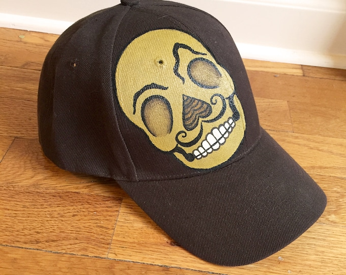 Day of the Dead Baseball Cap Hand-Painted Sugar Skull Design Brown Adjustable Hat