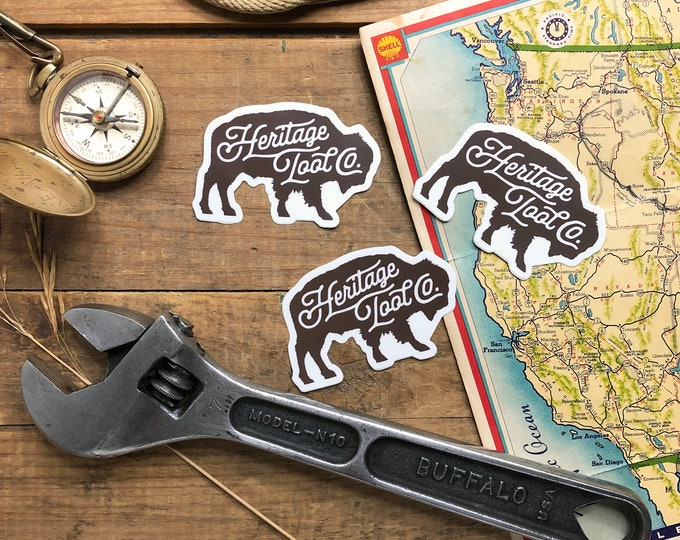 """Heritage Tool Co. Buffalo Decal 3"""" Tool Sticker 2nd Edition Bison Tool Sticker FREE SHIPPING!"""