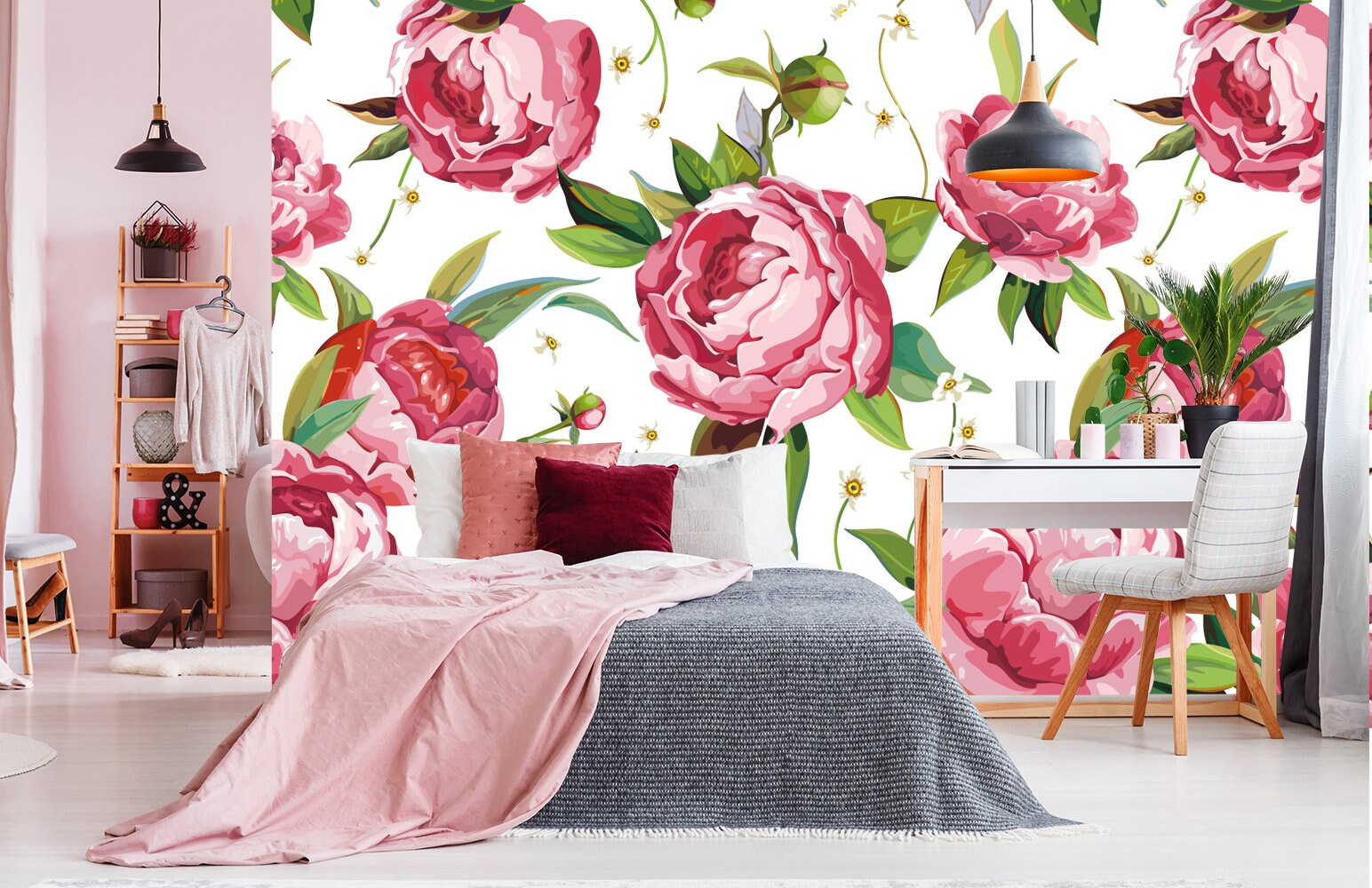 Flowers Wallpaper Peony Floral Wallpaper Removable Wallpaper Etsy