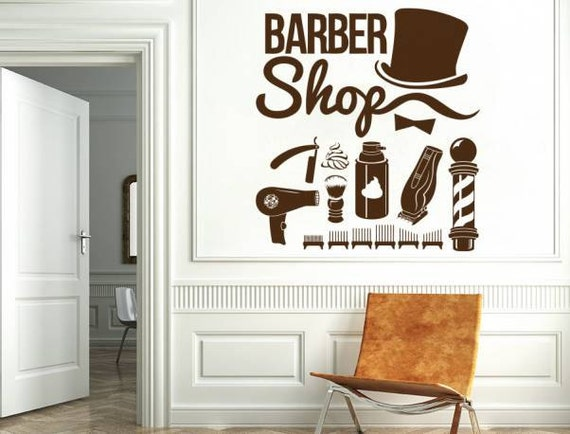 barber shop wall decal hairdressing salon vinyl sticker decals | etsy