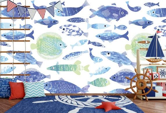 Sea Fish Wallpaper Nursery Nautical Watercolor Fish Removable Wallpaper Mural Self Adhesive Wallpaper Peel And Stick Wallpaper Ns30