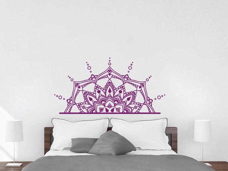 Half Mandala Flower Wall Decals Headboard Bedroom Vinyl Sticker Boho Decor NV78