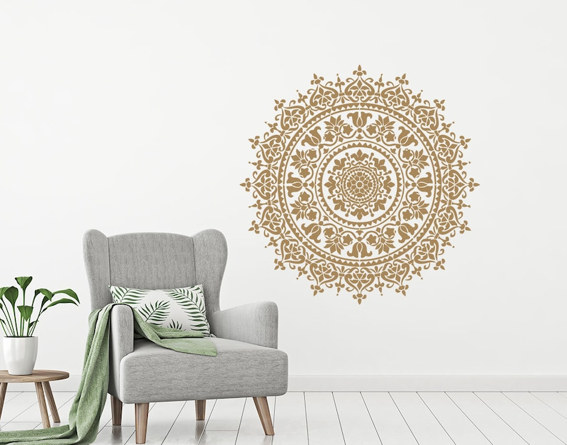 Wall Decal Mandala Vinyl Sticker Decals Lotus Flower Home Etsy