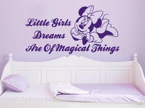 Naklejki ścienne Cytaty Minnie Mouse Małe Marzenia Dziewcząt Są Magiczne Rzeczy Winylu Naklejki ściana Naklejką Nv36 Dziewcząt Wystrój Sypialni