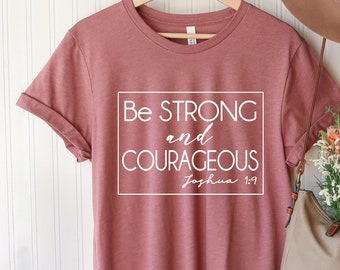 BE BRAVE Joshua 1:9 Toddler T-shirt with Hand Drawn Bear