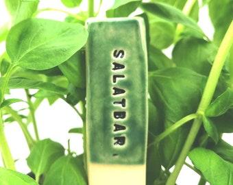 Vegetable markers ceramic, salad plant marker, wabisabi garden, garden decor, flower pot decor, garden sign, plant signs, vegetable sign