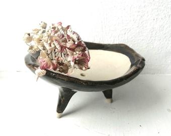 Ceramic Bonsai pot with drainage, Kusamono planter, Shitakusa bowl, flat ceramic planter, plant pot, Kokedama holder, succulent plater