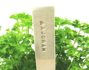 Herb markers ceramic, Majoram plant marker, garden decor, flower pot decor, garden sign, plant signs, herb sign, german text, witch garden