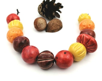 Ceramic beads, warm autumn colors, 12 pieces, jewelry ceramic beads, macrame beads, handmade beads, beads for DIY, beads for jewelry making