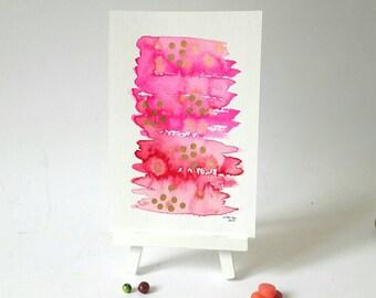 Watercolor illustration, watercolor painting, golden dots, aquarelle art, wall decor, original artwork, modern abstract art, small artwork