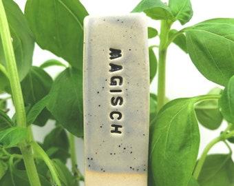 Funny herb marker ceramic, plant marker, garden decor, magical plants, plant signs, vegetable sign, german text, vegetable marker, veggies