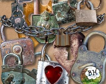 Lovelocks - Digital Scrapbook Element Pack. Commercial or Personal Use