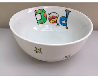 Hand painted personalised dad, Daddy bowl. Father's Day