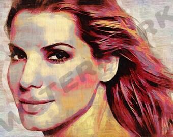Sandra Bullock Art Print - Oil Painting Poster  LFF0175