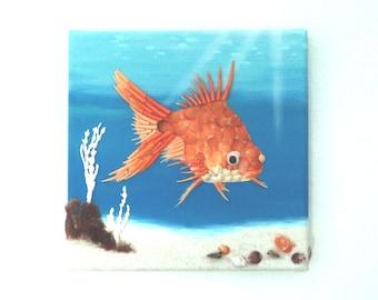 Goldfish in Seashell Mosaic Underwater Scene 3D Painting, Tropical Wall Decor, Ocean Art, BeachHouse  Decor, Nautical Wall Art, Fish Mosaic