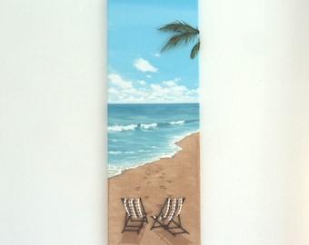 Deckchairs on the Beach in Seashell Mosaic & Sand Wall Art, Beach House Decor, Beach Scene Painting, 3D Deckchairs Mosaic, Beach Collage