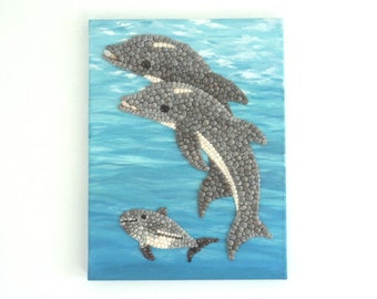 Acrylic Painting, Artwork with Seashells, Art Wall Picture of Dolphins, Dolphins in Seashell Mosaic, Mosaic Art, 3D Art Collage, Home Decor