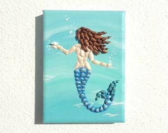 Mermaid in Sea in 3D Seashell Mosaic Wall Art, Mermaid Ariel Painting, Beach House Decor, Mermaid Lover's Gift, Ariel Wall Art, Fantasy Art