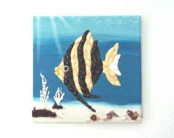 Fish in Seashell Mosaic Underwater Scene 3D Painting, Fish Tropical Wall Decor, Ocean Art, Beach House Decor, Nautical Wall Art, Fish Mosaic