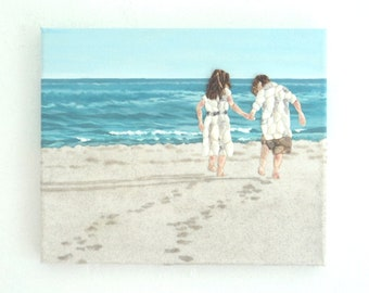 Boy & Girl on Beach in Seashell Mosaic, Painting of Children playing on Beach, Mosaic Beach Scene, Children Art, Beach House 3D Wall Decor